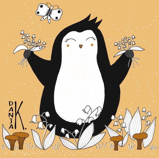 Pinguin im Frühling mit Pfifferlingen und Schneeglöckchen